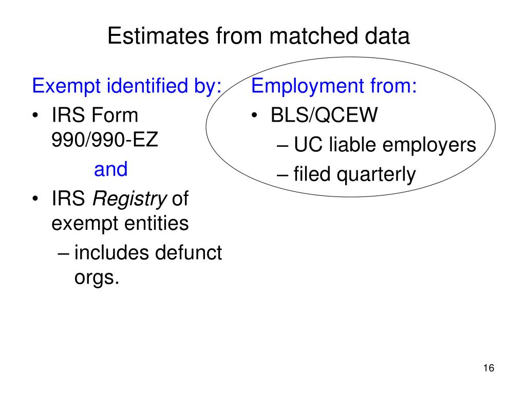 Estimates from matched data