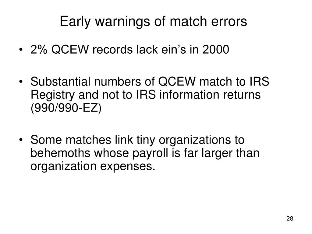 Early warnings of match errors