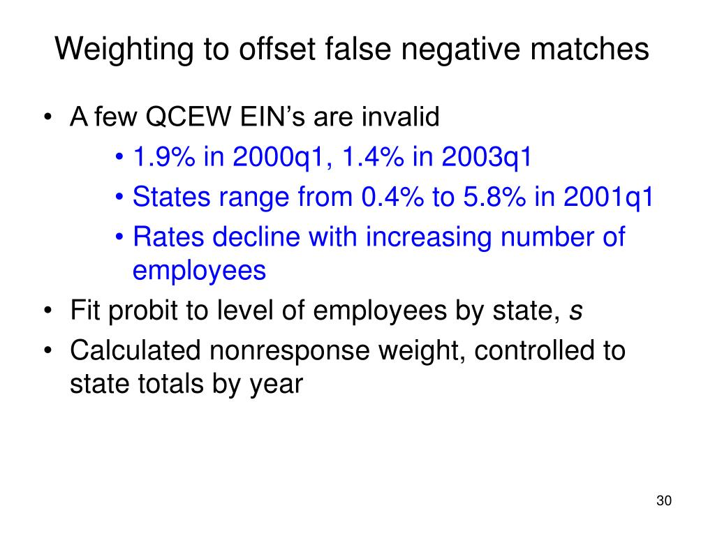 Weighting to offset false negative matches