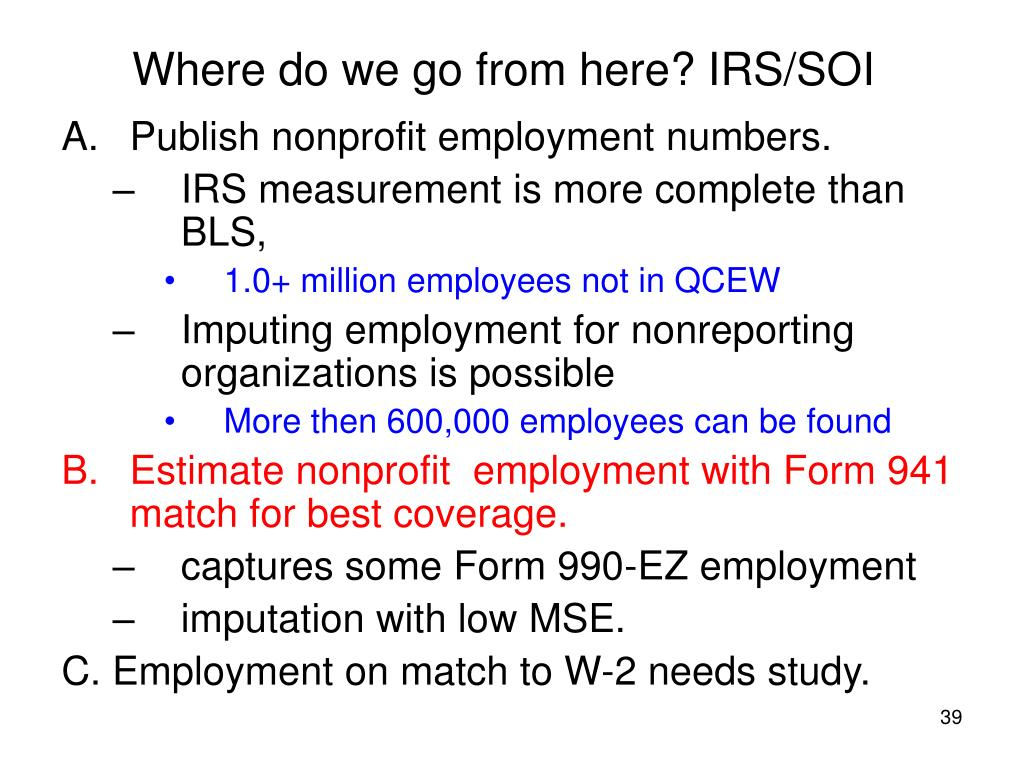 Where do we go from here? IRS/SOI