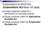 corporations to which the corporations act does not apply