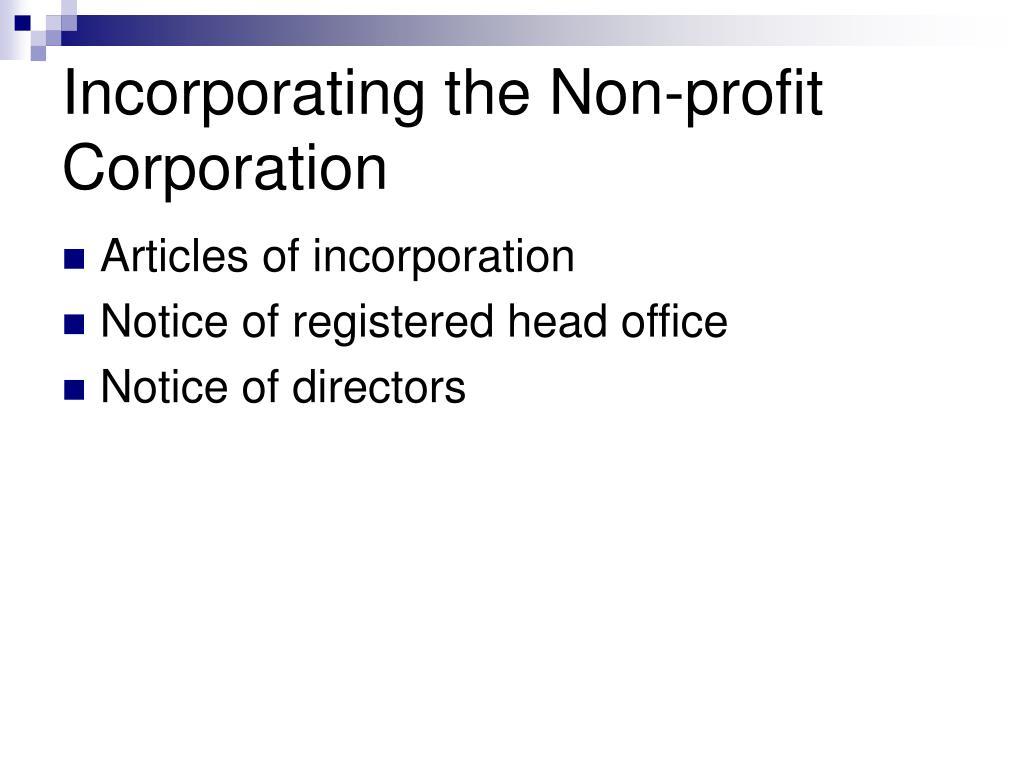 Incorporating the Non-profit Corporation