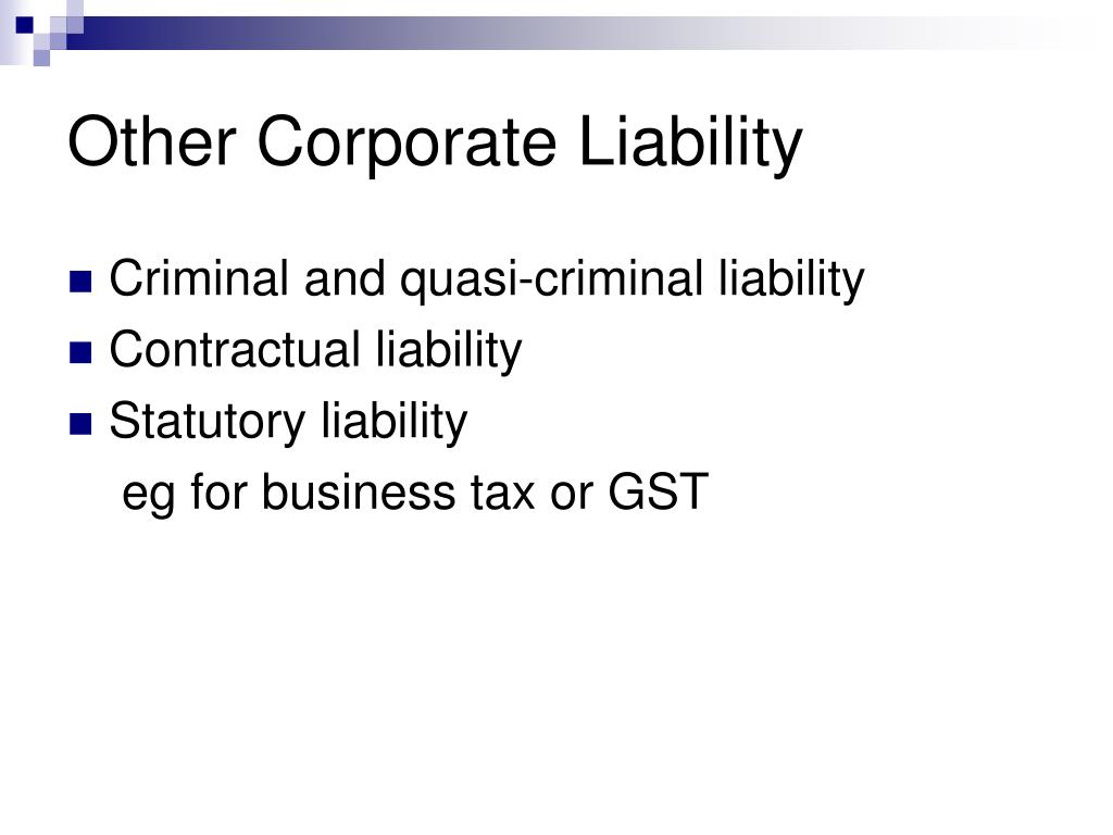 Other Corporate Liability