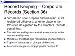 record keeping corporate records section 36