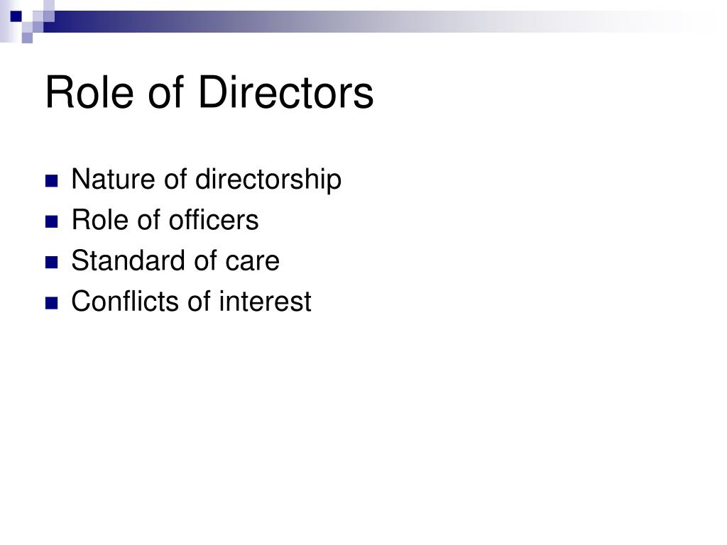 Role of Directors