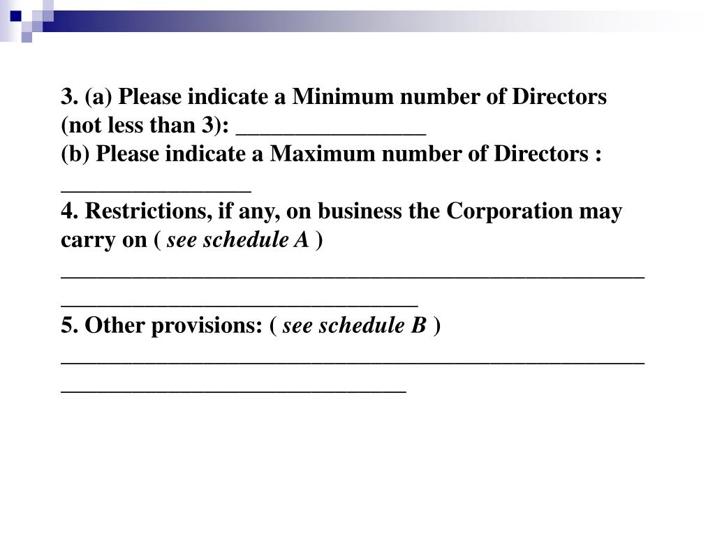 3. (a) Please indicate a Minimum number of Directors (not less than 3): ________________