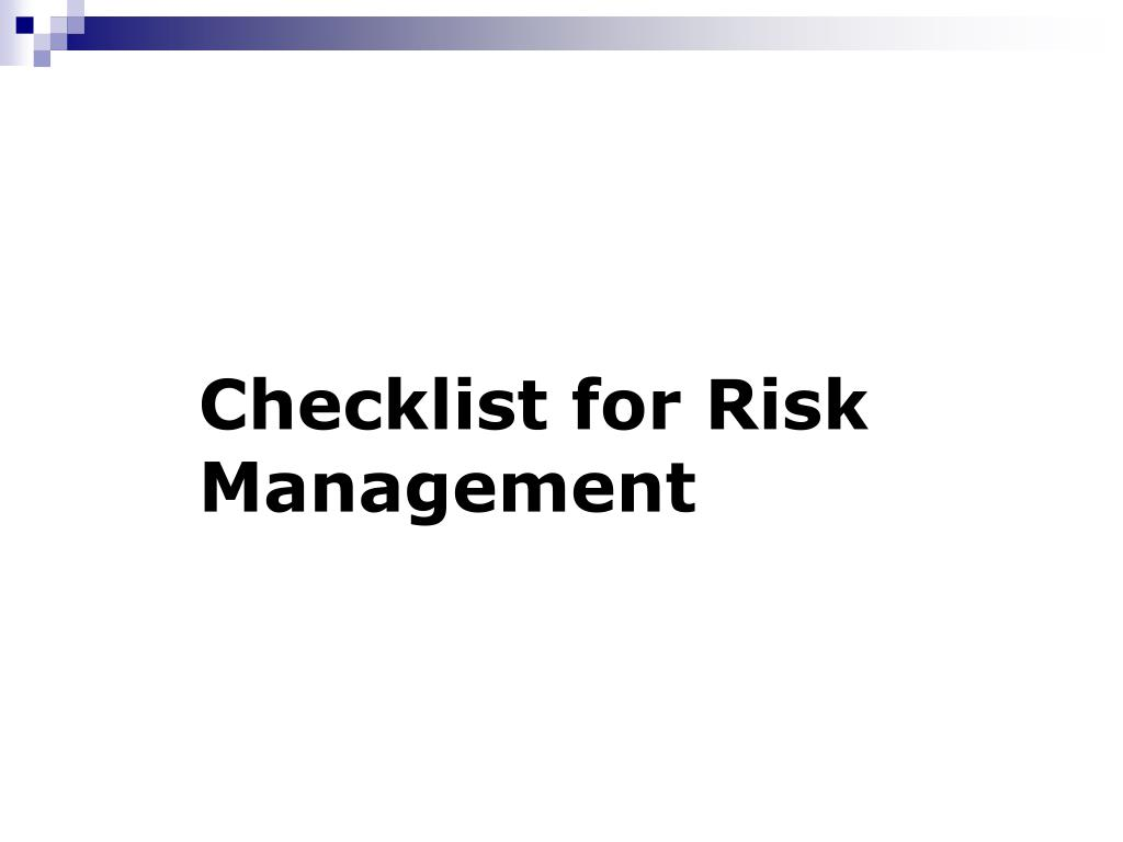 Checklist for Risk