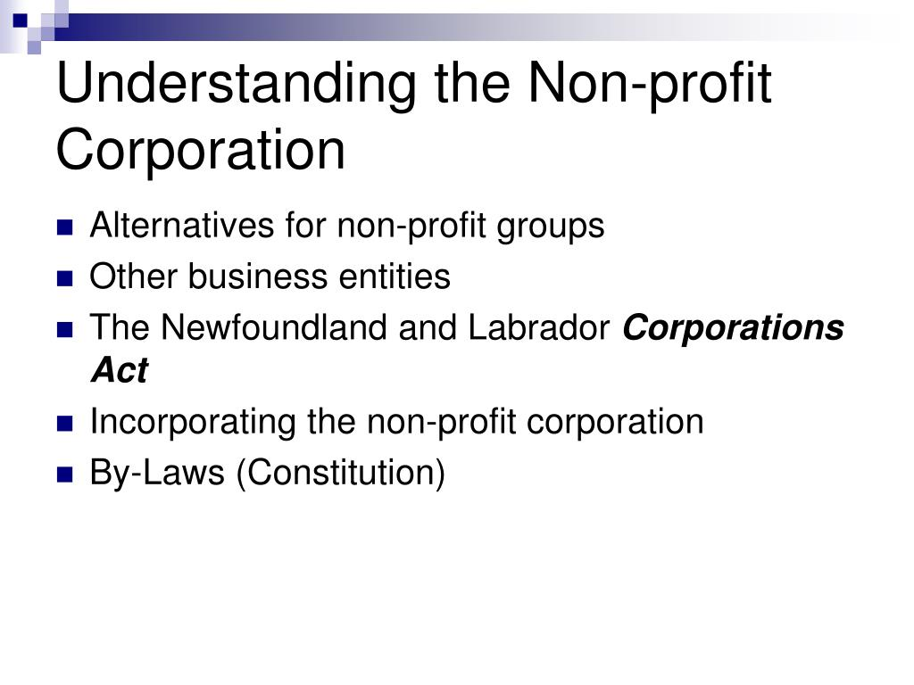 Understanding the Non-profit Corporation