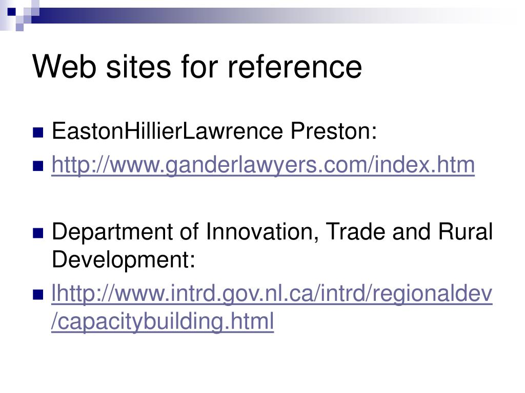 Web sites for reference