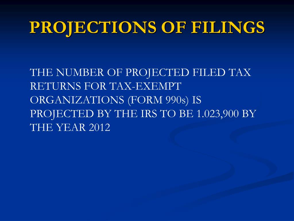PROJECTIONS OF FILINGS