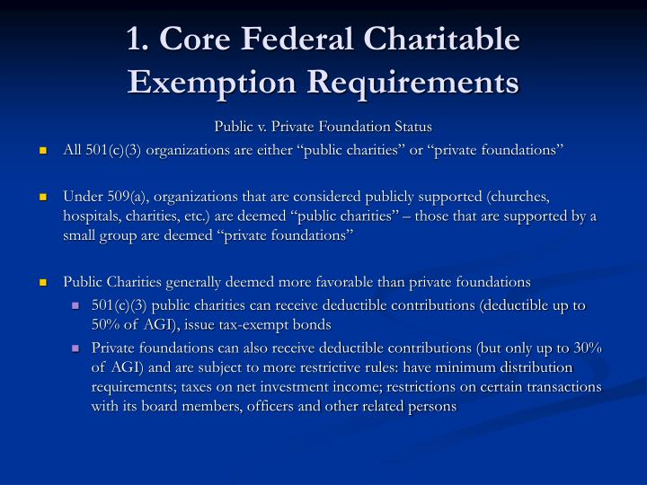 1 core federal charitable exemption requirements