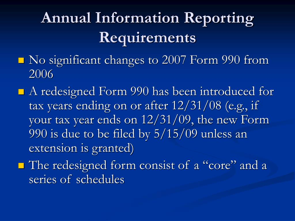 Annual Information Reporting Requirements