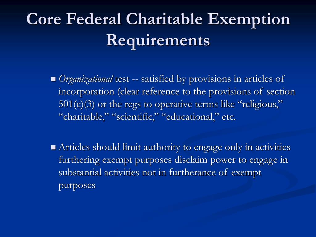 Core Federal Charitable Exemption Requirements
