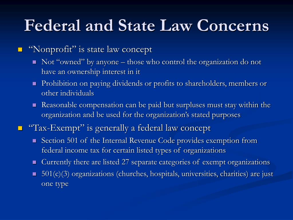 Federal and State Law Concerns