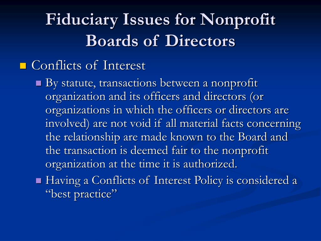 Fiduciary Issues for Nonprofit Boards of Directors