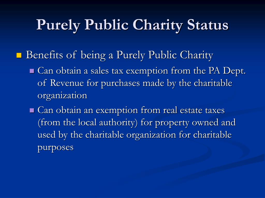 Purely Public Charity Status