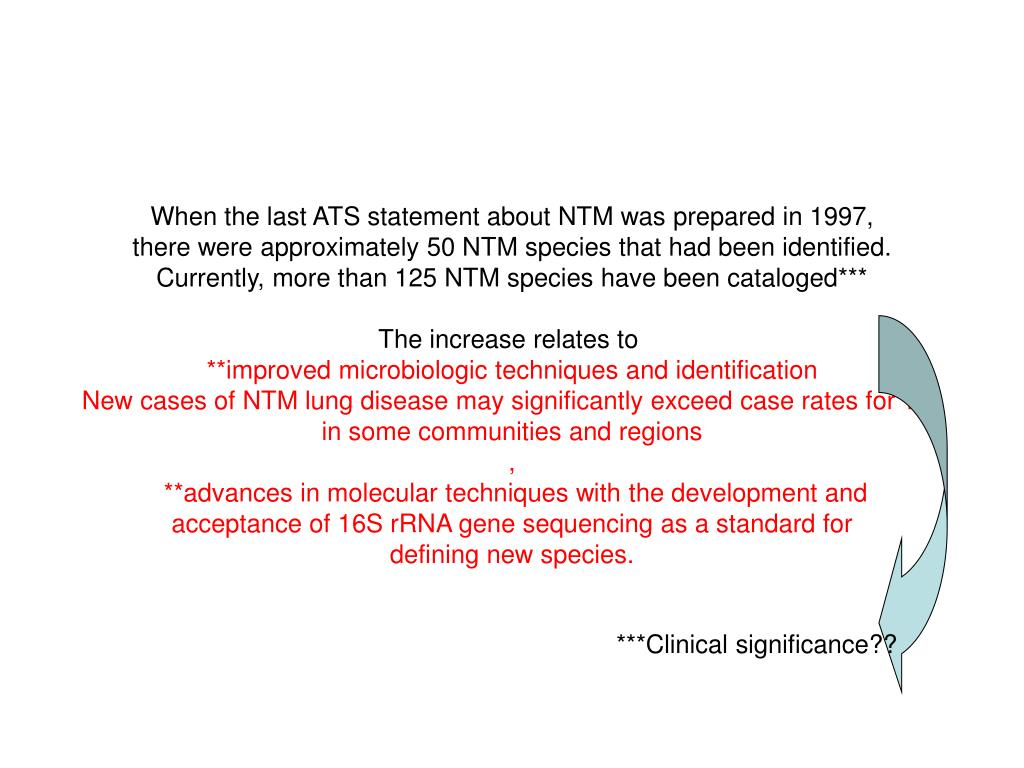 When the last ATS statement about NTM was prepared in 1997,