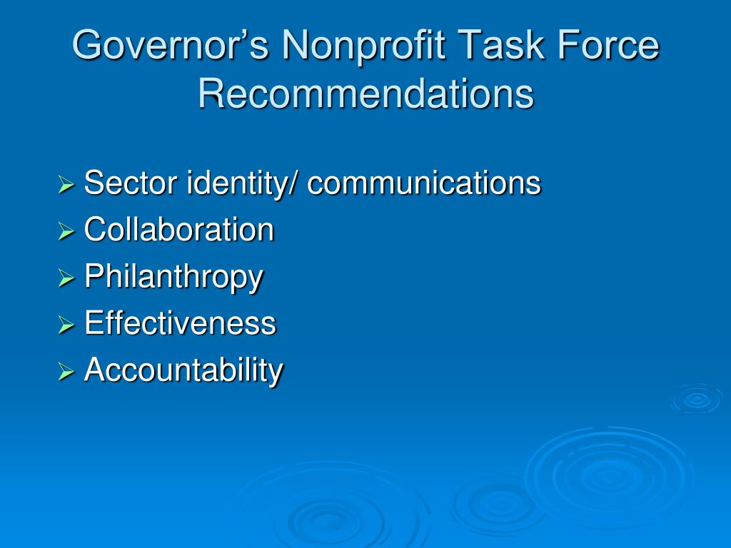Governor's Nonprofit Task Force Recommendations