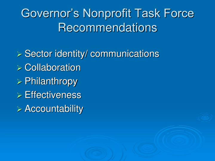 Governor s nonprofit task force recommendations