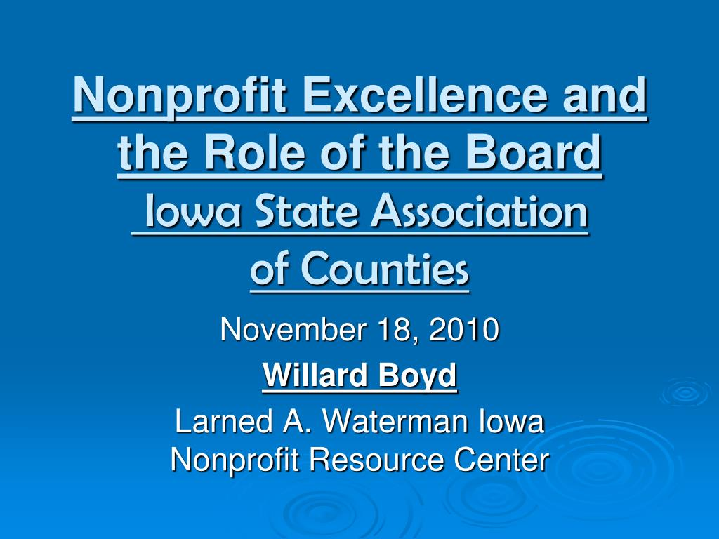 Nonprofit Excellence and the Role of the Board