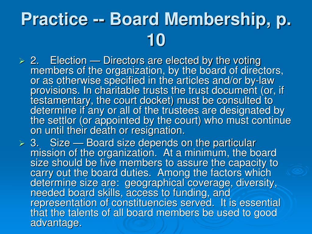 Practice -- Board Membership, p. 10