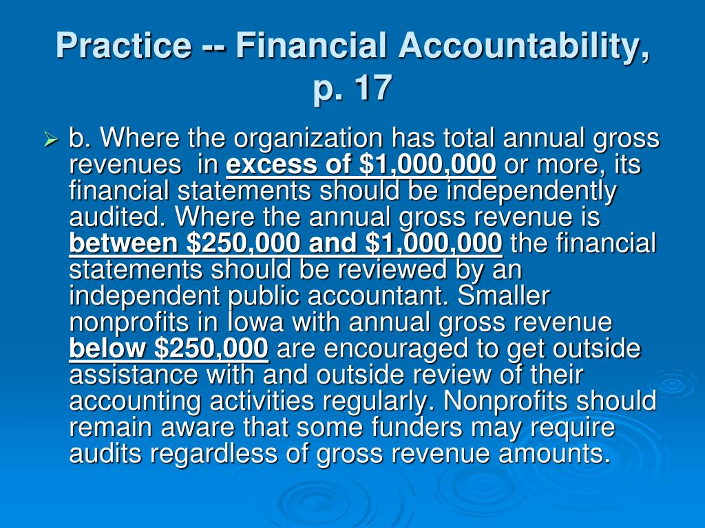 Practice -- Financial Accountability, p. 17