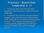 practices board chair leadership p 12