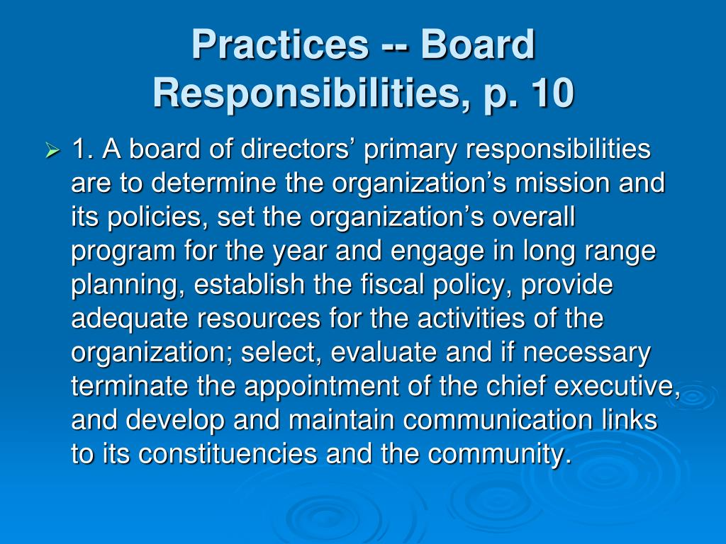 Practices -- Board Responsibilities, p. 10