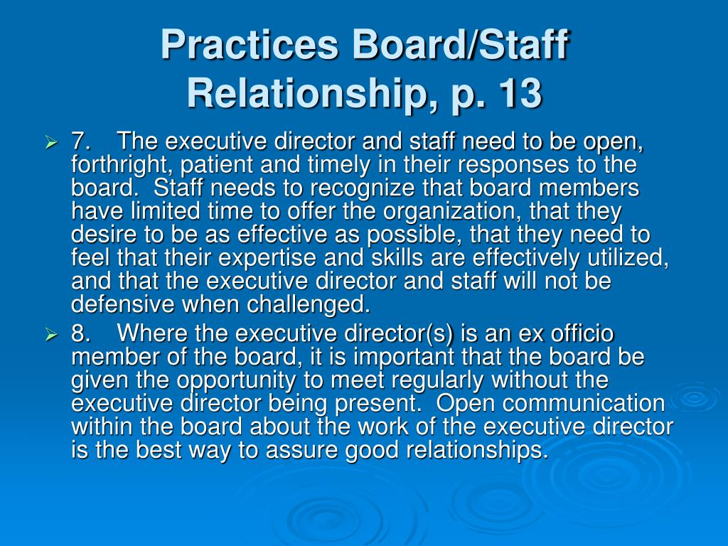 Practices Board/Staff Relationship, p. 13