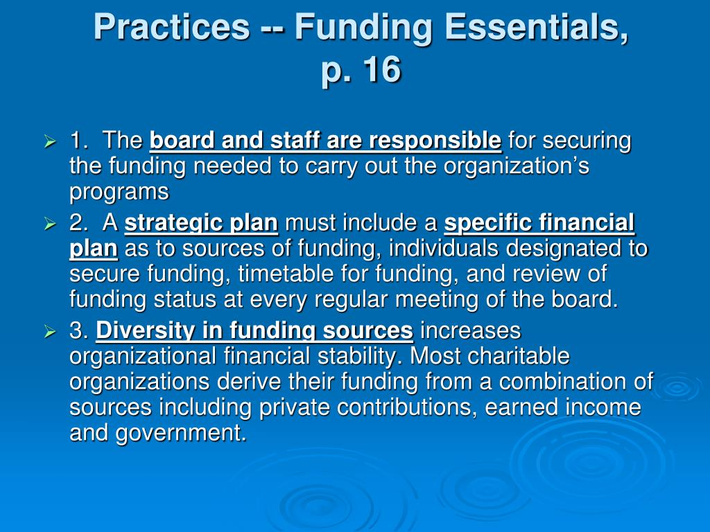 Practices -- Funding Essentials,