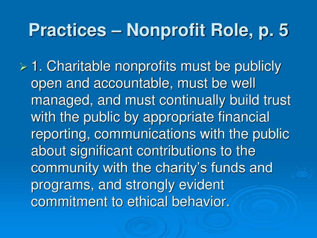 Practices – Nonprofit Role, p. 5
