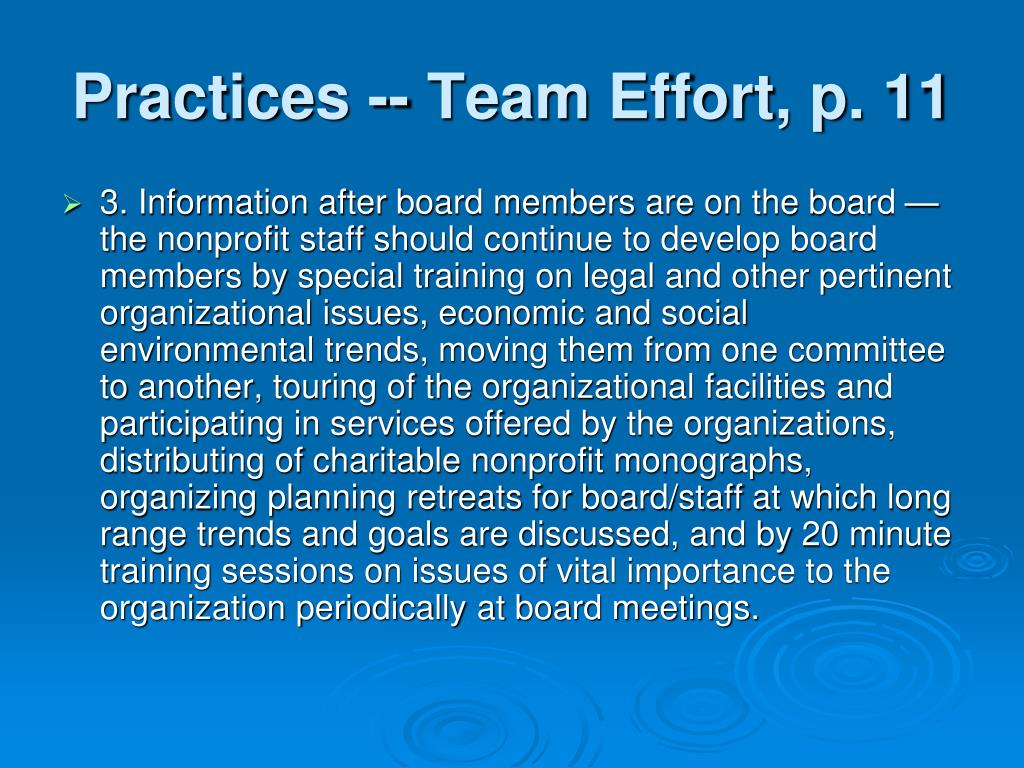 Practices -- Team Effort, p. 11