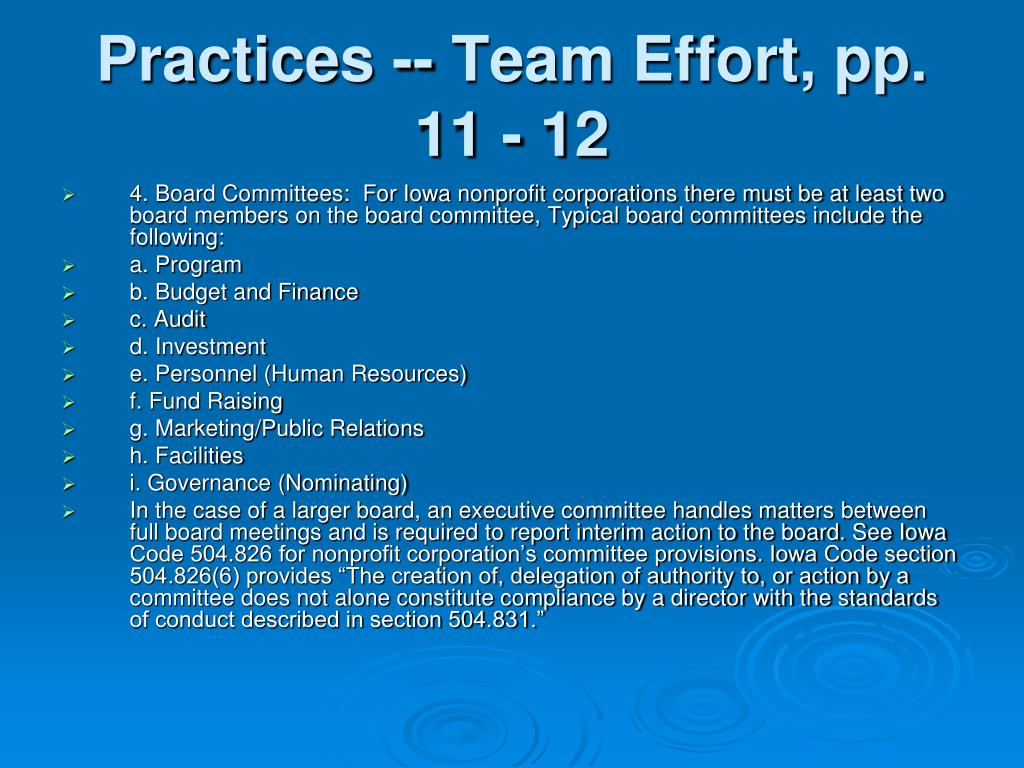 Practices -- Team Effort, pp. 11 - 12