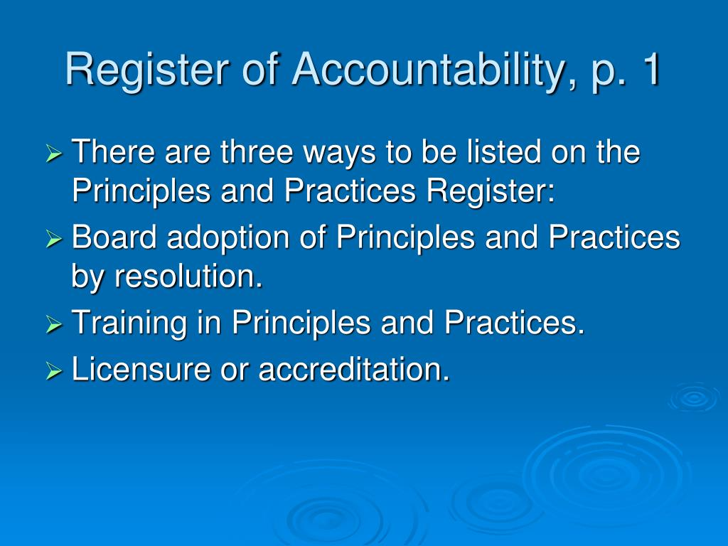 Register of Accountability, p. 1