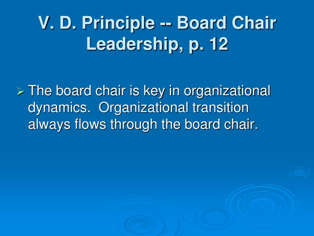 V. D. Principle -- Board Chair Leadership, p. 12