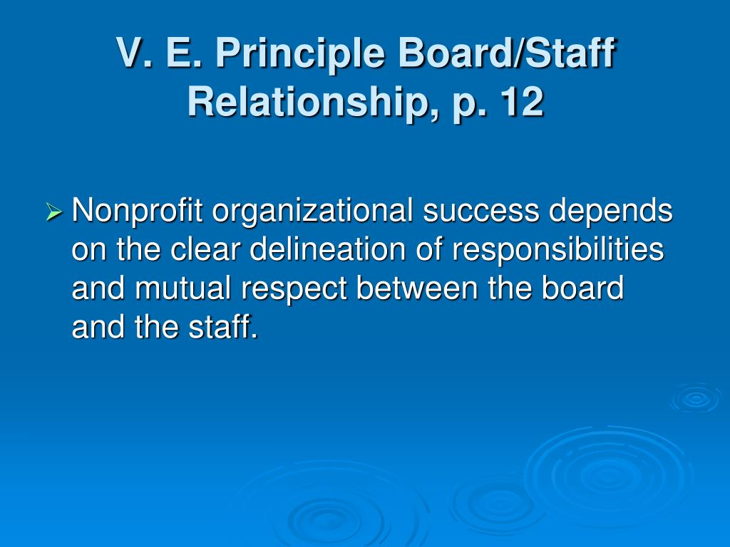 V. E. Principle Board/Staff Relationship, p. 12