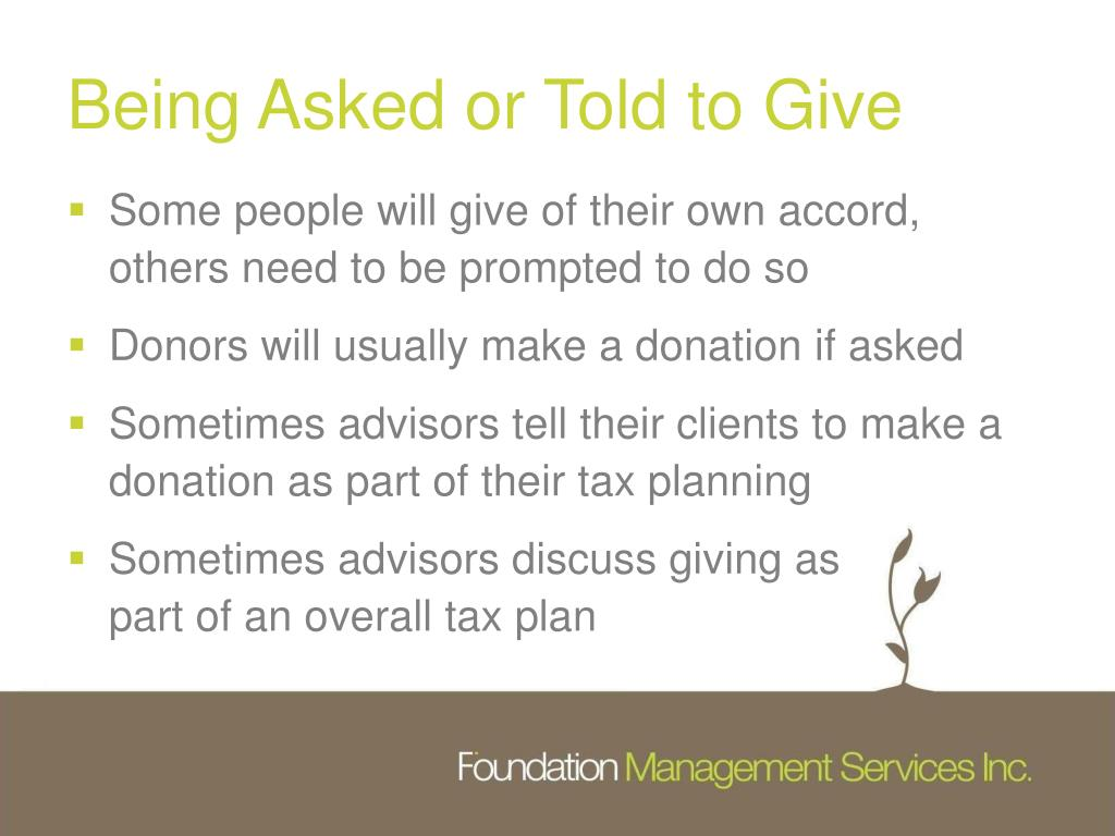 Being Asked or Told to Give