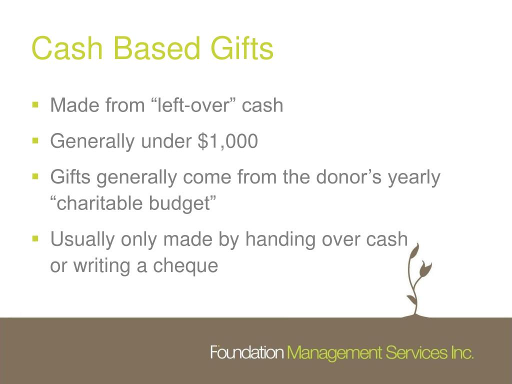 Cash Based Gifts