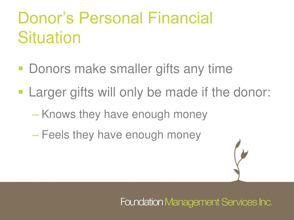 Donor's Personal Financial Situation