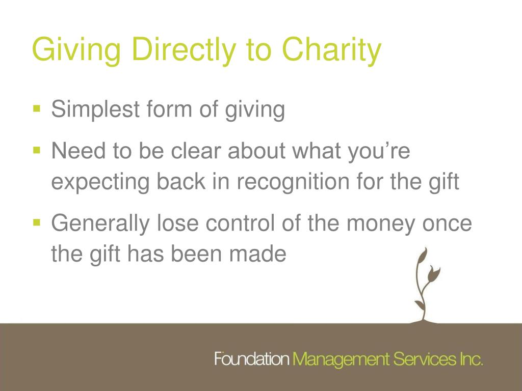 Giving Directly to Charity