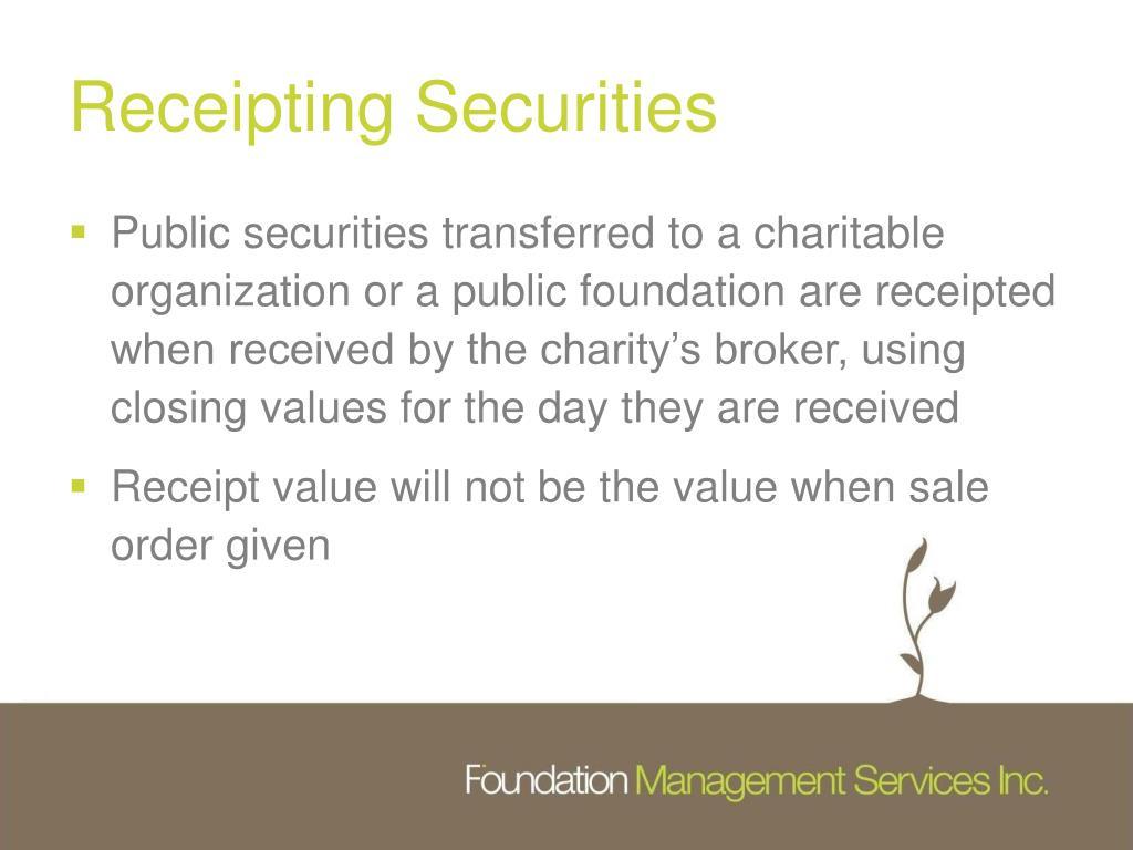 Receipting Securities