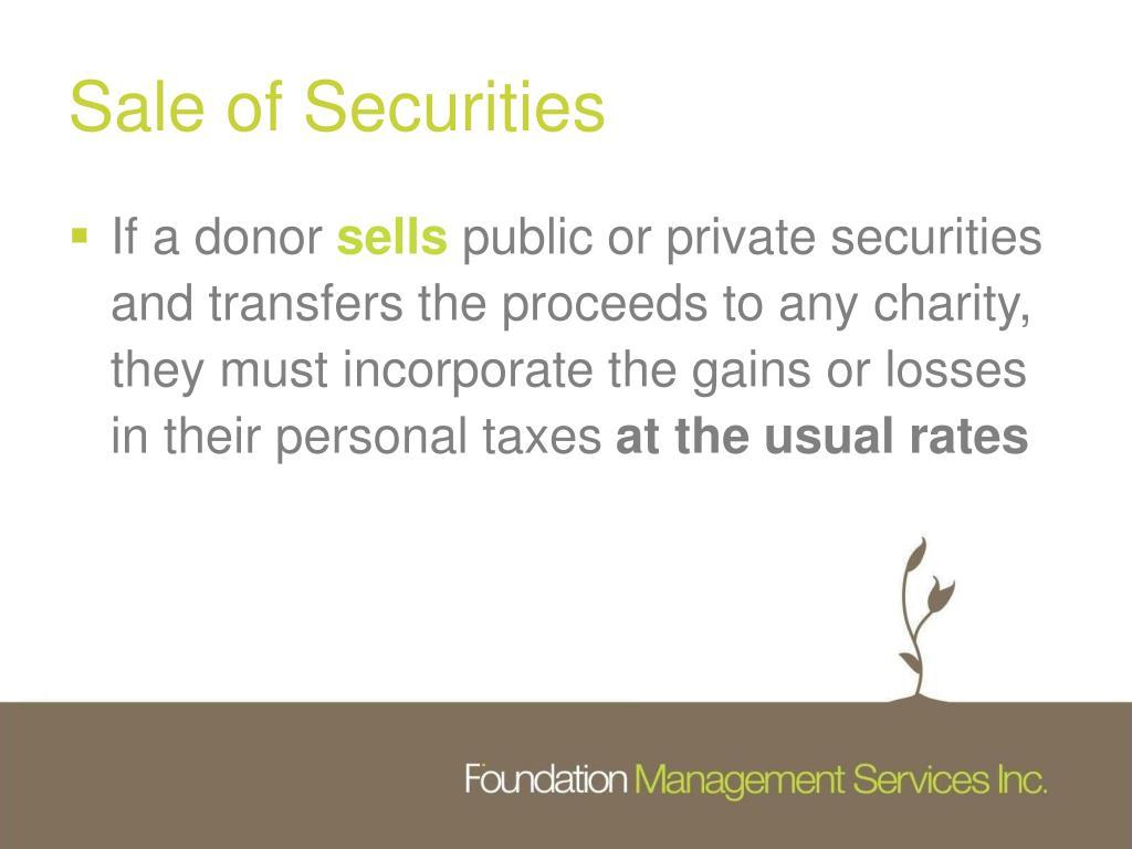 Sale of Securities
