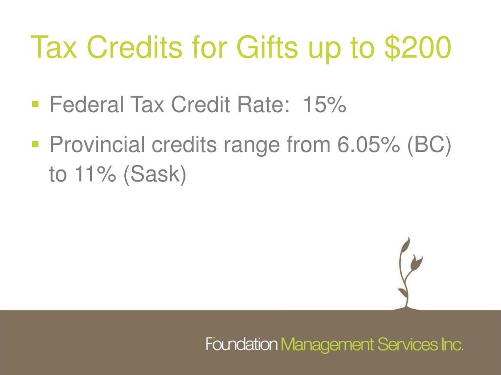 Tax Credits for Gifts up to $200