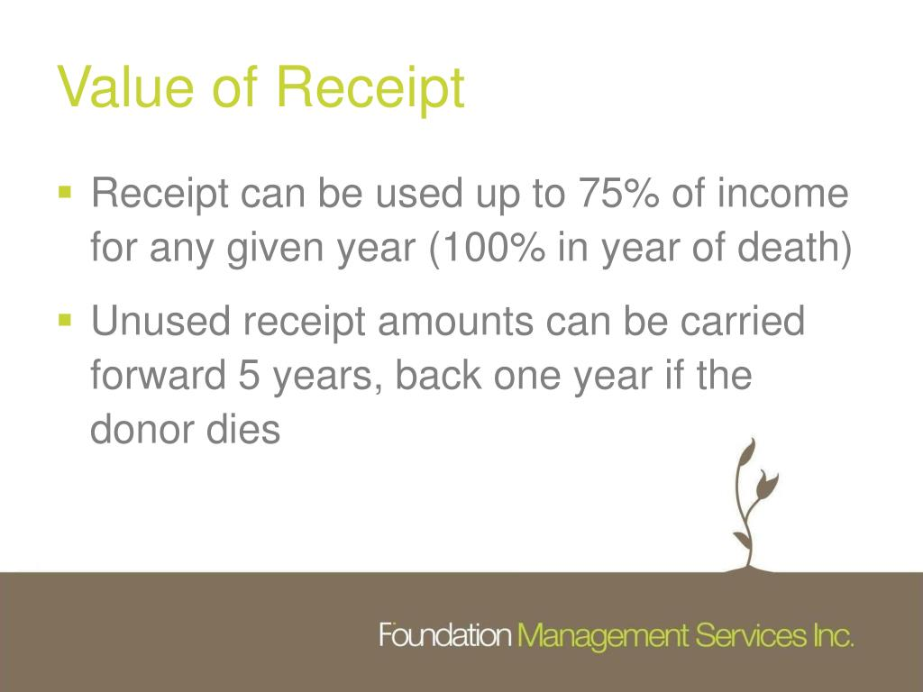 Value of Receipt