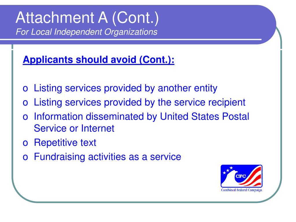 Attachment A (Cont.)