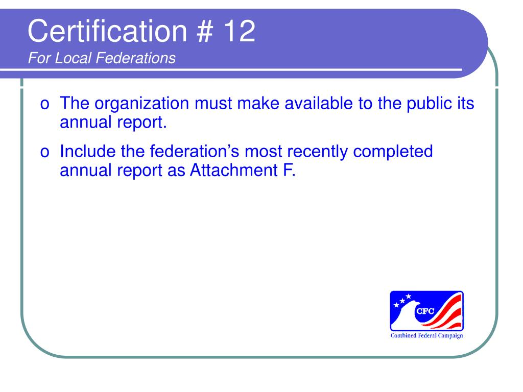 Certification # 12