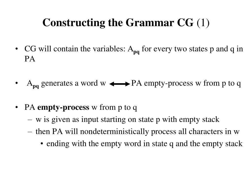 Constructing the Grammar CG