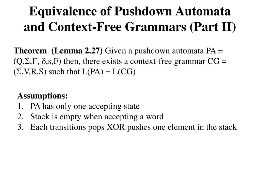 Equivalence of Pushdown Automata and Context-Free Grammars (Part II)