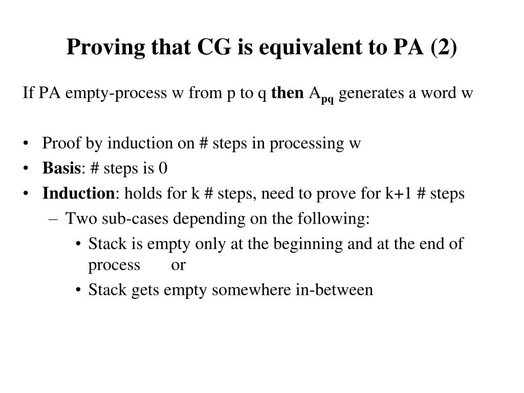 Proving that CG is equivalent to PA (2)
