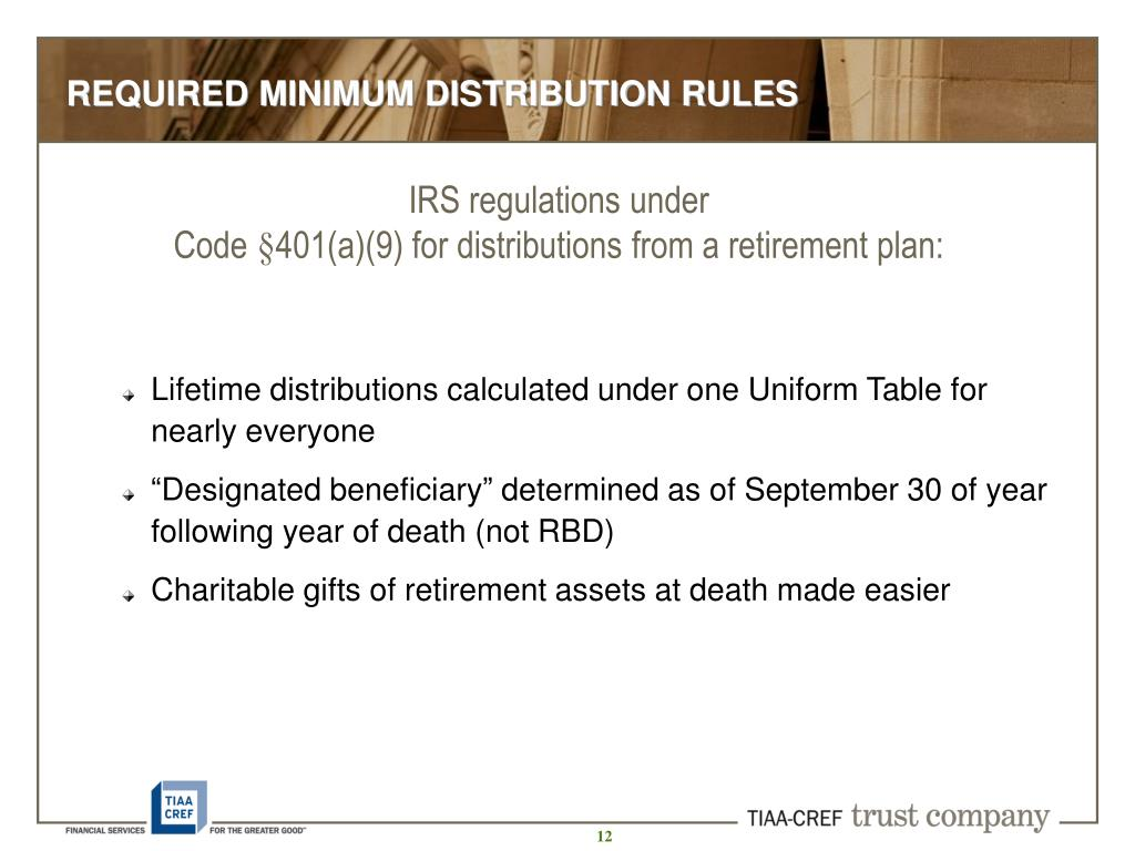 REQUIRED MINIMUM DISTRIBUTION RULES